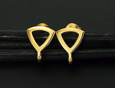 - 925 Sterling Silver 24k Gold Vermeil Style Triangle Earrings Post Findings