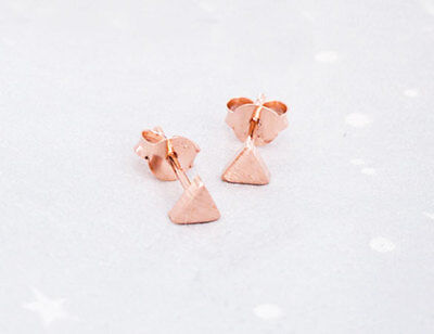 - 925 Sterling Silver Rose Gold Vermeil Style Tiny Triangle Stud Earrings 4mm.
