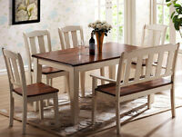 Rectangular Dining Leg Table with 4 Side Chairs