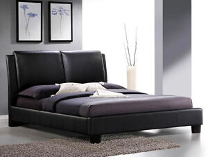 Espresso Faux Leather Upholstered Queen Platform Bed