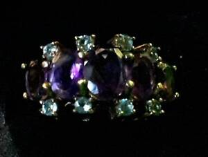 Vintage Amethyst & Diamond Ring in 10 Karat Yellow Gold $249