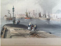 Antique engraving. Entrance to the Port of Dundee. Over 100 years old