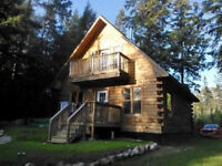 1300 sf log cottage on 1 acre 161' on Mason Lake in Muskoka