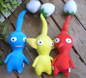 New 3PCS Nintendo Pikmin Plush Toy Red Blude Yellow Bud Lovely Gift For Kids