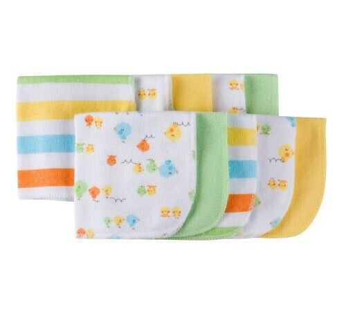 Gerber Baby Unisex 10-Pack Yellow/Green/Blue Chicks Terry Washcloths
