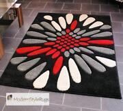 Red White Black Area Rug Modern Ebay