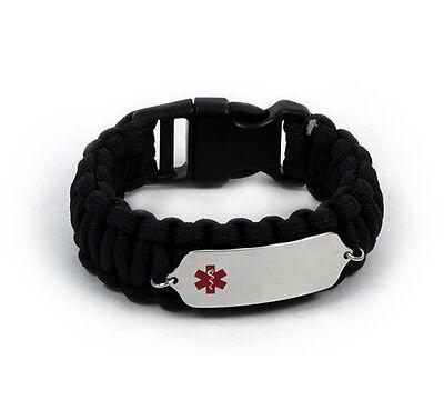 Medical Medical Id Bracelet - Paracord Medical ID Survival Bracelet with Color emblem Free medical wallet Card