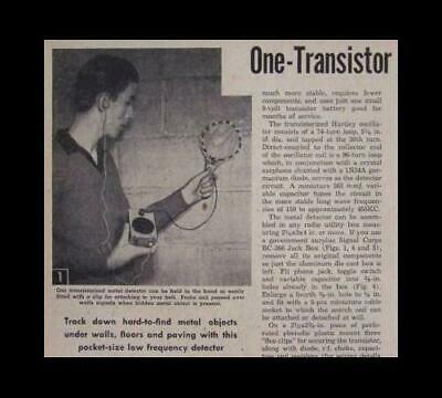 1 Transistor Metal Detector 1958 How-to Build Plans