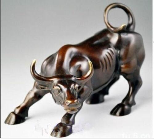 Big Wall Street Bronze Fierce Bull OX Statue  NR223