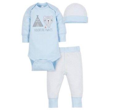 "Wonder Nation Baby Boy 3-Piece Light Blue ""Adventure Awaits"" Outfit Size Newborn"