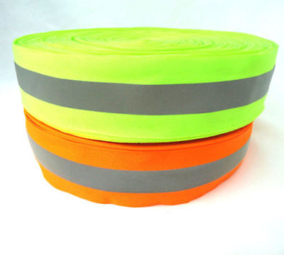 50m Width 2 Silver Reflective Tape Strip Sew-on Lime Orange Fabric Safty Vest