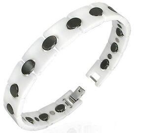 Bracelet gourmette homme ceramique noir blanc magnetique for Porte bracelet pas cher