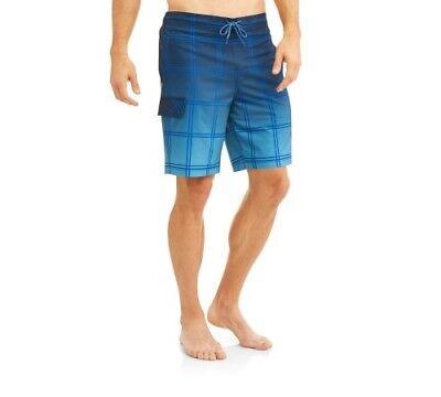 - George Men's Plaid Dark Navy E-board Stretch Swim Shorts Size S (28/30)