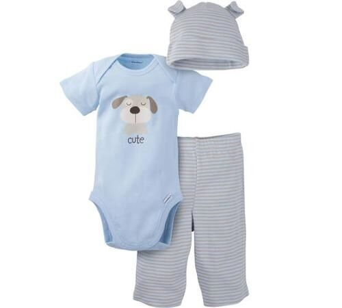 Gerber Baby Boy 3-Piece Light Blue Dog Outfit; BABY CLOTHES