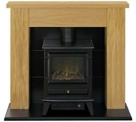 2kW Electric Stove Oak Surround - by Adam-517/1893-UK SELLER 1 bx