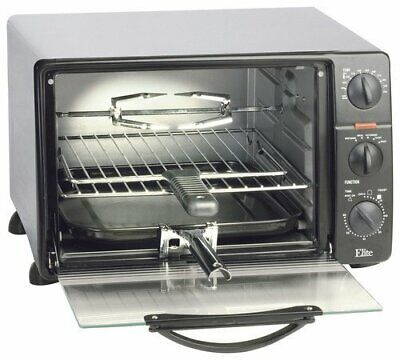 Toaster Oven 6 Slice 5 Function Crumb Tray 0.8 Cu. Ft Toaster Oven Broiler Black