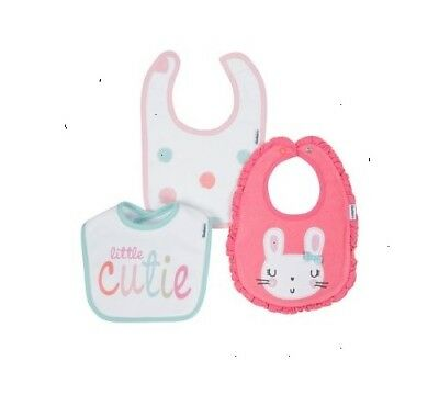 - Gerber Baby Girl 3-Pack Pink Bunny Terry Organic Cotton Bibs