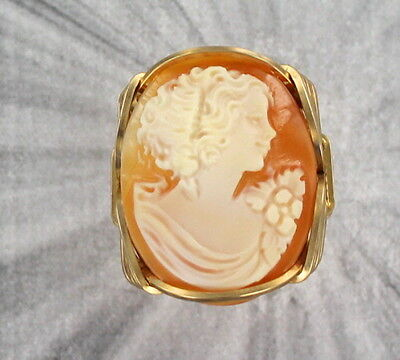 Vintage Shell Cameo Ring Carved in Italy in 14kt Rolled Gold Setting  Carved Shell Cameo Ring