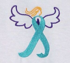Ovarian-Cancer-Awareness-XL-Teal-Ribbon-Angel-White-Crew-T-Shirt-Unisex-New