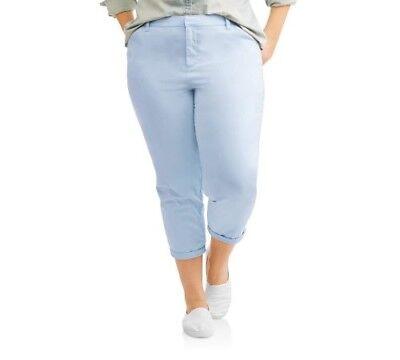 Terra & Sky Women's Plus Blue Water Cropped Chino Boyfriend Pants Size 14W