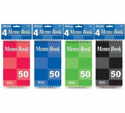 Bazic 50 Sheets 3 X 5 Top Bound Spiral Memo Books 1 Pk Of 4