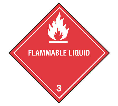"Flammable Liquid DOT Class 3 Label 4""x4"" 500 Per Roll"