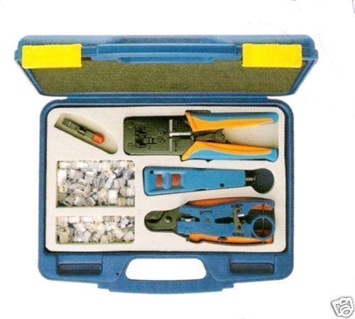 Network Installer Kit Case - RJ45 Crimper, Punch Tool, Cable Cutter, Stripper