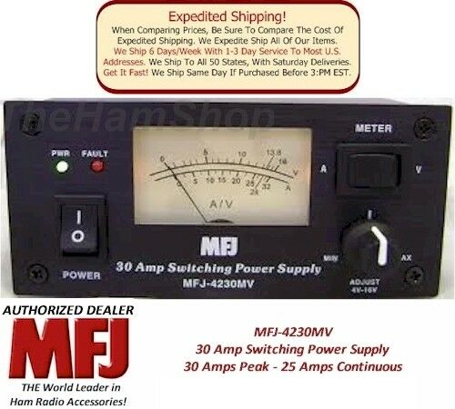MFJ 4230MV - 30 AMP Switching Power Supply With Meter, 4-16 Volts Adjustable NEW