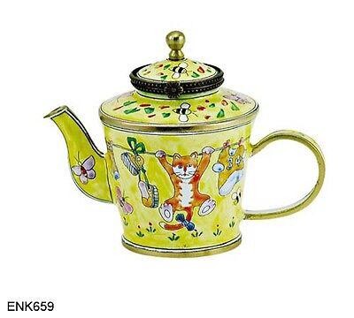 KELVIN CHEN Enamel Copper Hand painted  Mini Teapot-  Cute Cat Kitty Clothe line