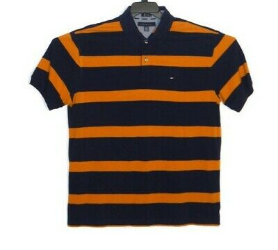 Tommy Hilfiger Men's Custom Fit Blue and Gold Stripe Polo Shirt XXL