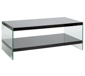 Hygena Kaspa Coffee Table - Black Gloss & Glass 739/3796 UK SELLER
