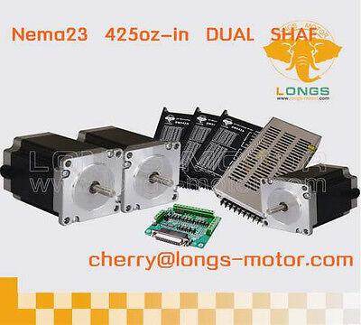 3axis Nema23 Dual Shaft Stepper Motor 425oz.in Cnc Lathes Cnc Plasma Cutters