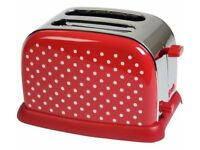 Kalorik Classic 2 Slice Polka Dot Steel Toaster - Red & White BNIB