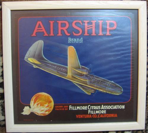 SUNKIST ORANGE Advertising Crate LABEL ~ AIRSHIP Brand    Original California