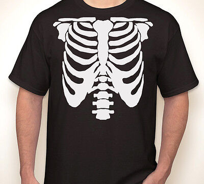 SKELETON RIBS Halloween rib cage costume/party scary kids Youth T-shirt S-XL