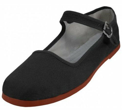 Easy USA Women's Canvas Mary Jane Ballet Flats/Shoes, Black, New, Mult. Sizes