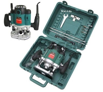 """HEAVY DUTY 1500W 1/2"""" PLUNGE ROUTER CUTTER ELECTRIC 240V INC COLLECTS IN CASE CT"""