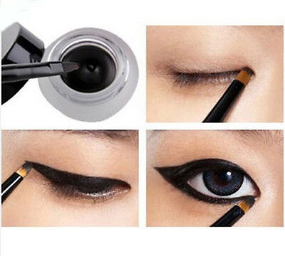 Waterproof Eye Liner Eyeliner Shadow Gel Makeup Cosmetic + Brush Black Hot HUCA