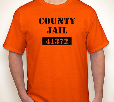 COUNTY JAIL state prison prisoner/inmate Halloween costume orange T-shirt S-5XL ()