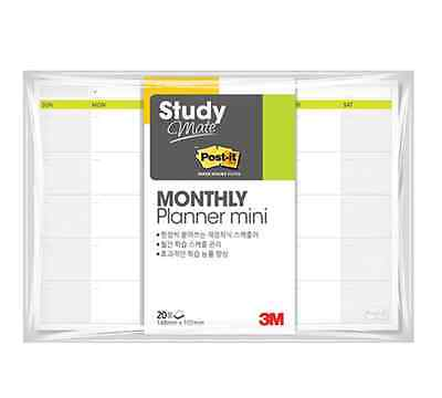 3M POST-IT Study Mate Monthly Planner Mini Scheduling Sticky Notes Memo