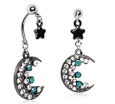 Crescent Moon belly ring star navel 14G double dangle piercing (Dangling Star Navel Ring)