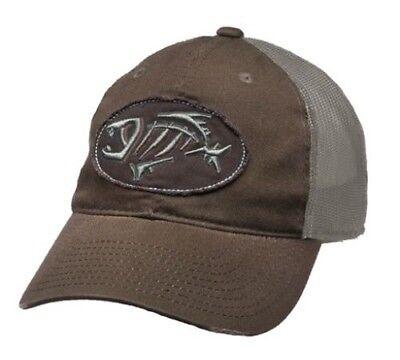 c74e72bfb250d G Loomis Distressed Oval Hat Cap Brown w  Tan Mesh Back   Fish Bone Logo  OSFM