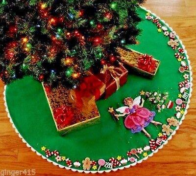 Fairy Tree Skirt - Bucilla Sugar Plum Fairy Felt Christmas Tree Skirt Kit OOP Angel Princess 85445