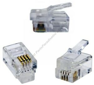 Lot50-Phone-Telephone-RJ10-Crimp-End-Terminator-for-Flat-cable-cord-wire-SH-DISC