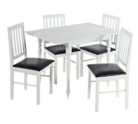 HOME Orton Spindle Large Drop Leaf Table & 4 Chairs White 739/7338 UK Seller 2Bx