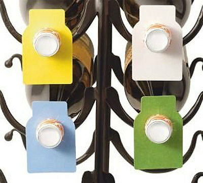Framara Wine Bottle Paper Tags, 100 Pack, Color Coded Organizers Charms Markers