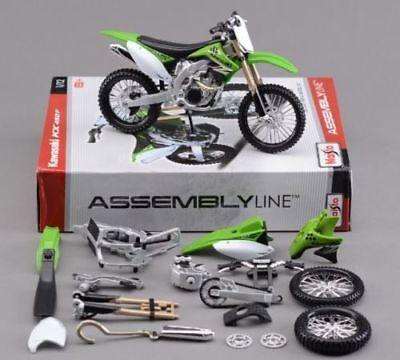Kawasaki KXF 450 1:12 Die Cast Motocross Self Assembly Toy Model Motorbike Green