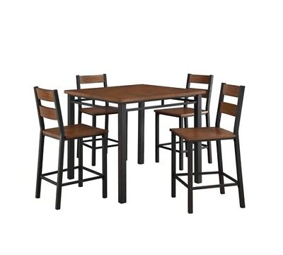 Details about Pub Dining Set Counter Height Table Rustic Kitchen Tables  Nook 5 Piece Tall Sets