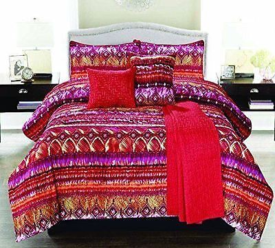MOROCCO COMFORTER SET 5 PC TWIN BOHO CORAL RED PINK SHAM PILLOW QUILTED THROW - Morocco Comforter Set