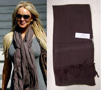 Love Quotes Scarf In Espresso Linen Viscose Blend Hand Knotted Tassel Nwt